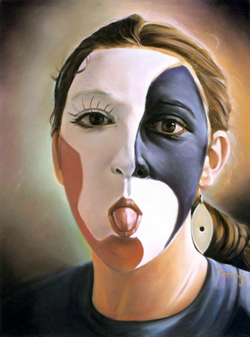 titulo: Muchaha sacando la lengua. Curso El arte de la Pintura y dibujo de artistas pintores